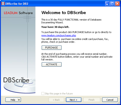 Click to view DBScribe for DB2 1.1 screenshot