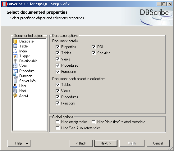 This step allows you to select predefined object and collection properties you want to document