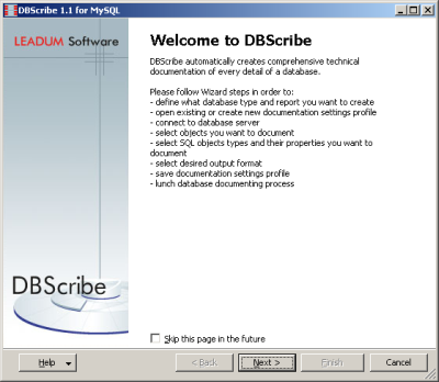 Click to view DBScribe for MySQL 1.6 screenshot