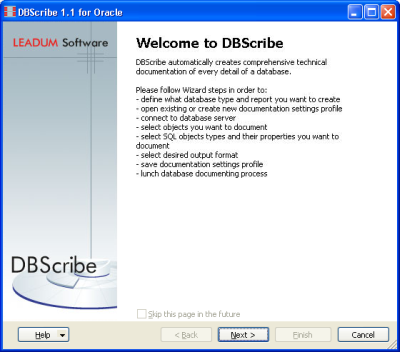 DBScribe for Oracle screenshot: oracle database documentation tool,  oracle database documentati