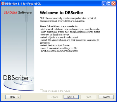 Click to view DBScribe for PostgreSQL 1.2 screenshot